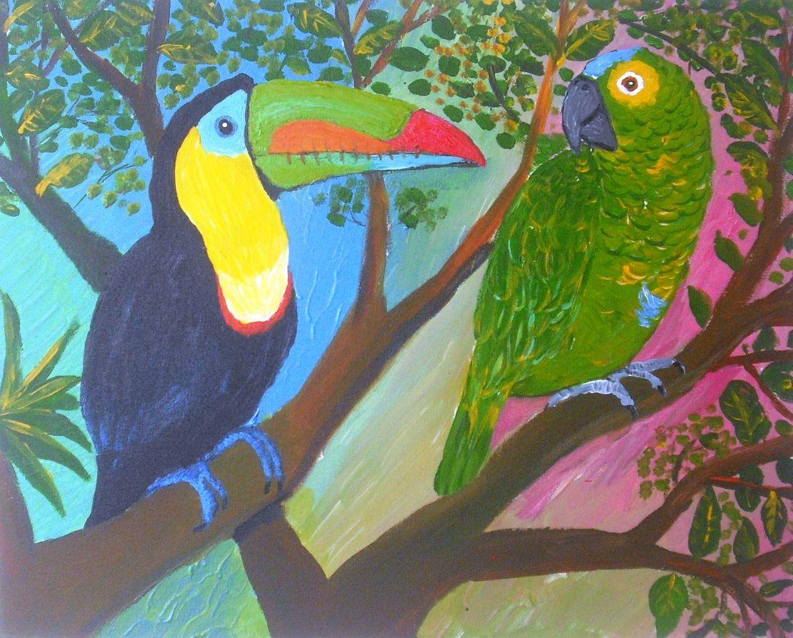 Arara e tucano do bico colorido. Acrílico s/tela. 2010.