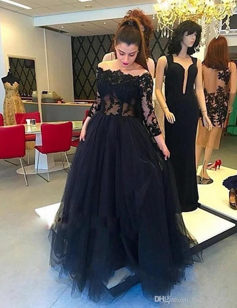 new charming long black prom dress long sleeve off shoulder