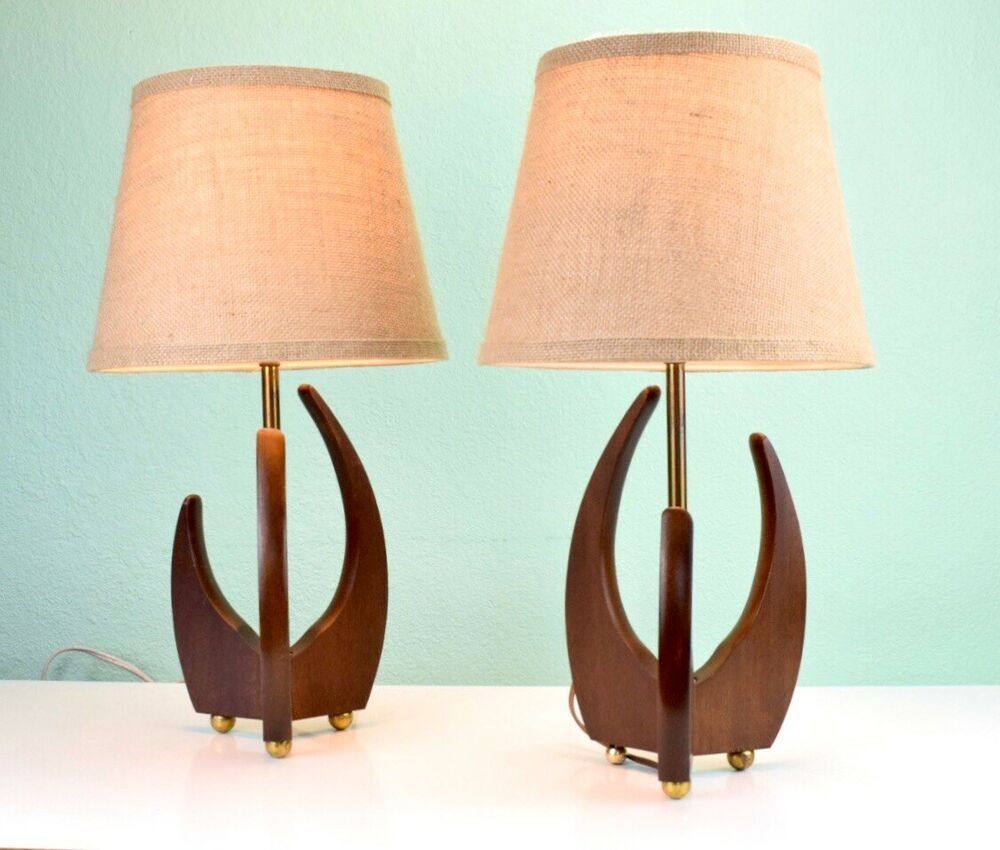 Sculptural MCM wood Brass Desk Table Lamps Attributed To