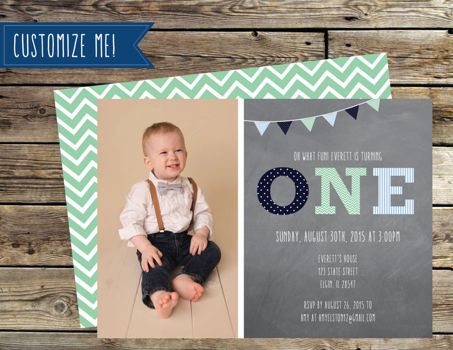 Boys First Birthday Invitation, Oh What Fun Look Who\'s One, Blue and ...