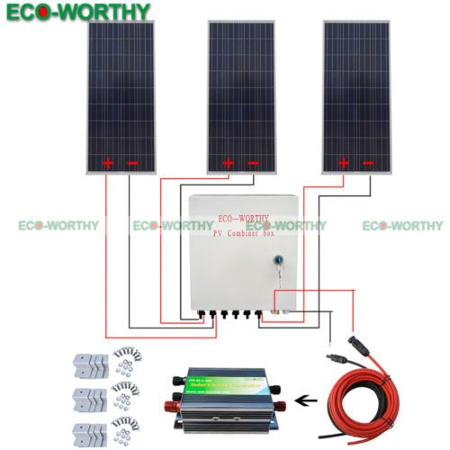 3x160w 450w 12v Off Grid Solar System W 6 Strings Combiner Box For Outdoor Solar Kit 12v Solar Panel Solar Panels