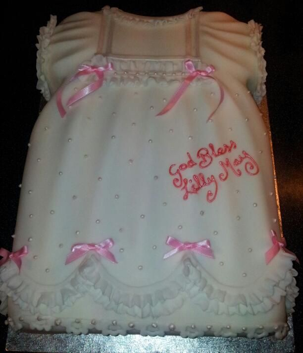 Christening Dress Cake - Vanilla madeira cake with vanilla buttercream and sugarpaste icing.