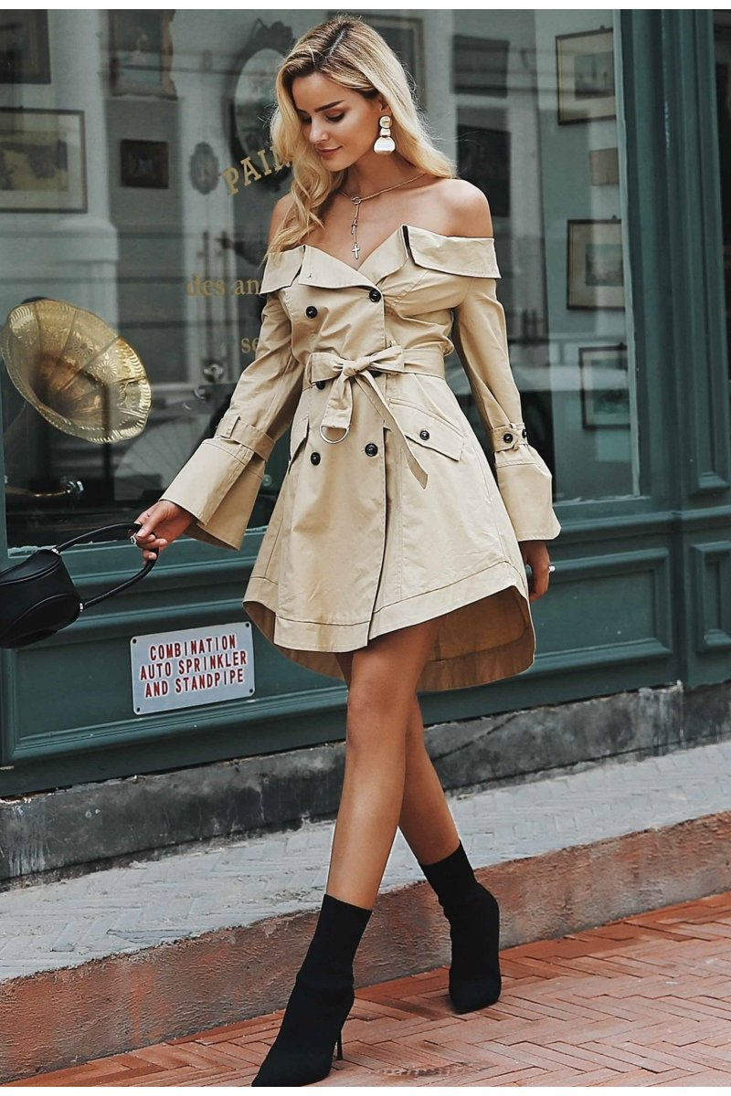 1282773f34cc4 Off Shoulder Trench Dress in 2019 | FSC Women's | Trench coat dress ...