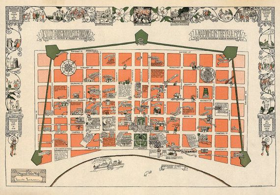 photo about French Quarter Map Printable known as Fresh new Orleans French Quarter Pictoral Map 1928 by means of