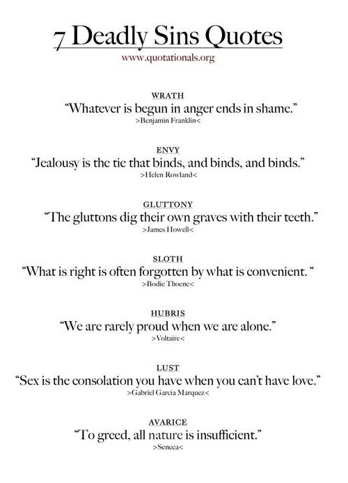 7 Deadly Sins Deep Thought Quotes Seven Deadly Sins Bible Book Writing Tips