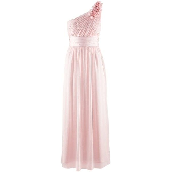 BNWT H&M ONE SHOULDER PASTEL PINK LONG CHIFFON MAXI DRESS SIZE UK 8 ...