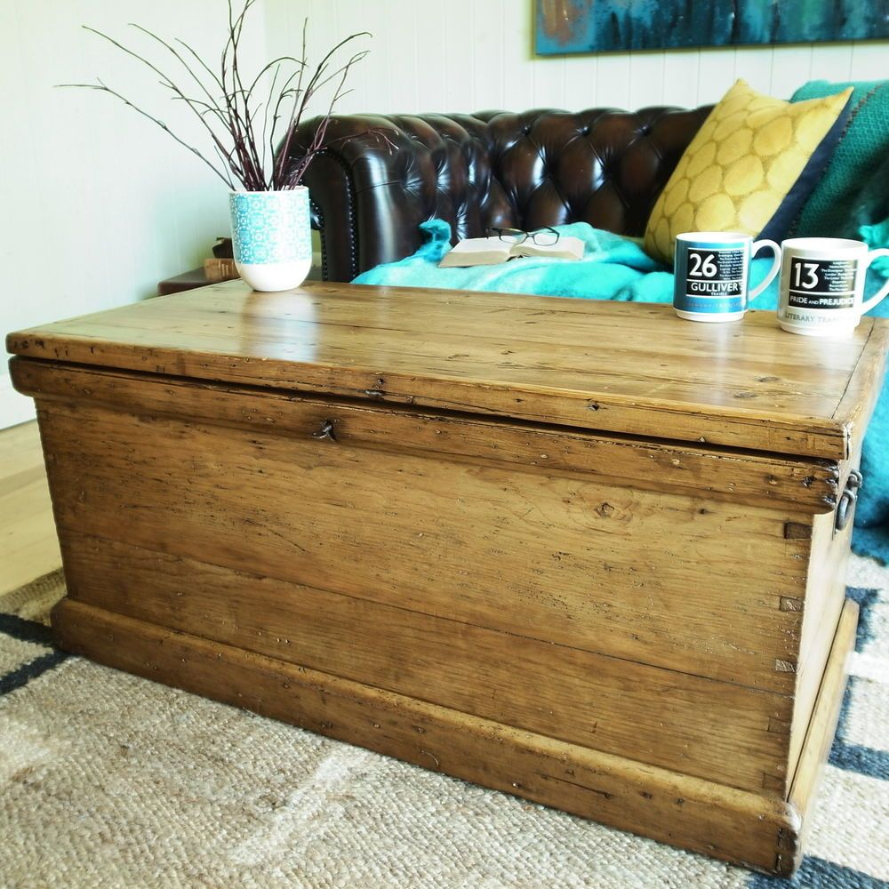 Vintage Trunk Storage Chest Victorian Tool Chest Pine Blanket Box Coffee Table Vintage Trunks