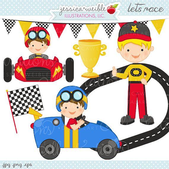 Lets Race Cute Digital Clipart Commercial Use Ok Race Car Etsy In 2020 Digital Clip Art Clip Art Cute Clipart