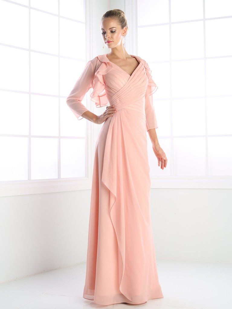 Long pleated dress with sheer jacket by cinderella divine ch