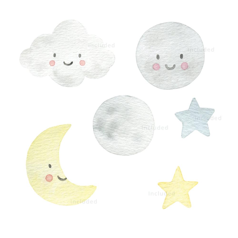 Moon Star Watercolor Clipart Set Baby Invitation Watercolour Clip Art Digital Download Nursery Decor Newborn Pastel Rainbow Cute Kawaii In 2021 Watercolor Clipart Hand Illustration Rainbow Nursery Art
