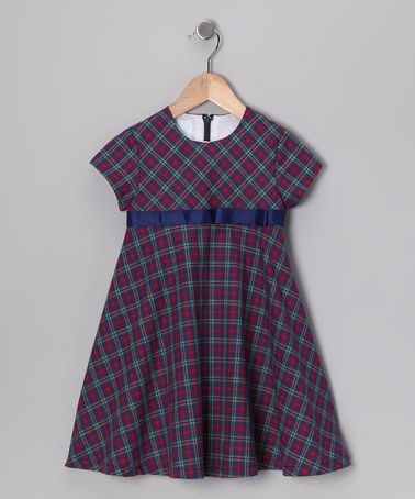 Take a look at this Navy & Red Plaid Swing Dress - Toddler & Girls by Silly Goose on #zulily today!