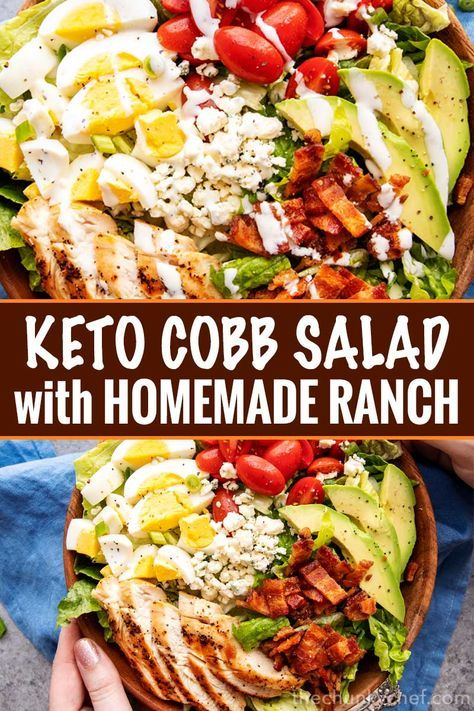 Keto Cobb Salad with Ranch Dressing This classic Cobb salad is made with seared chicken breasts, crunchy bacon, sweet tomatoes, creamy hard-boiled eggs, buttery avocado and drizzled with a fantastic and low-carb homemade ranch dressing! Perfect for Keto and low-carb living!