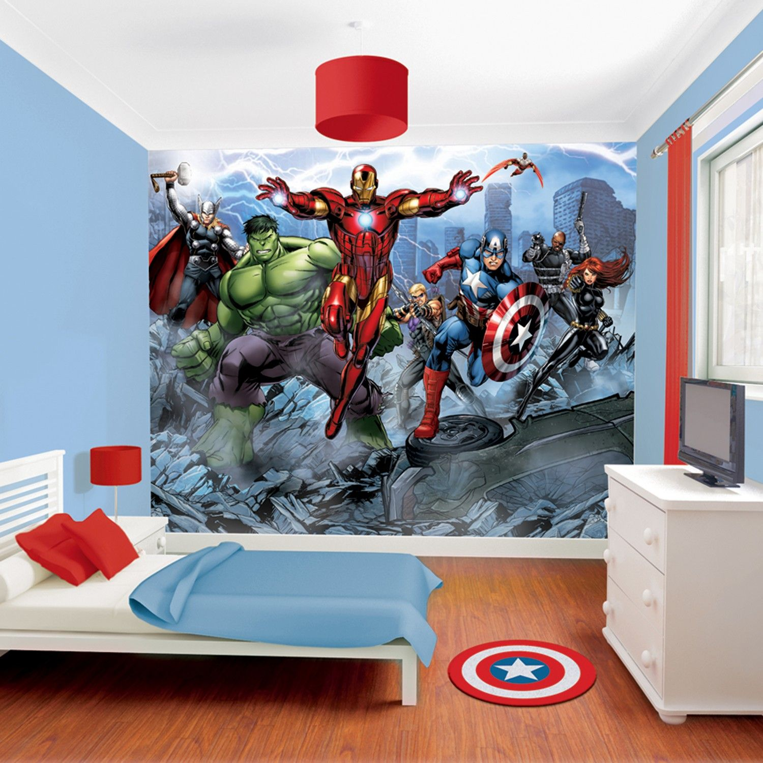 Diy Boy Bedroom Ideas Bedroom Wallpaper Designs Bedroom Sets Decorating Ideas Brown Black And White Bedroom: Buy Avengers Assemble Mural