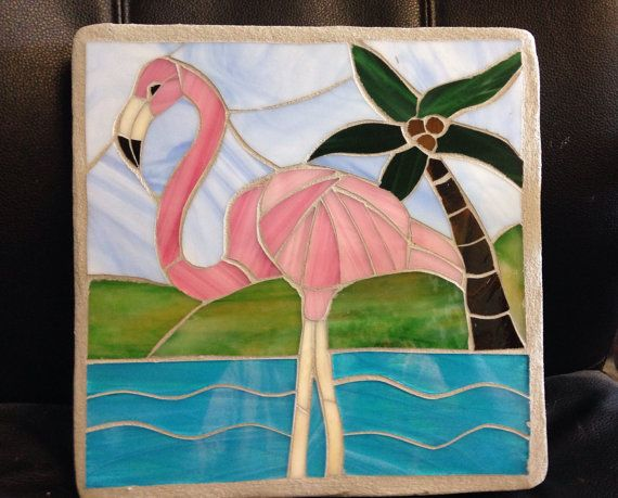 Flamant mobili ~ Pink flamingo stained glass mosaic garden stepping stone mosaic