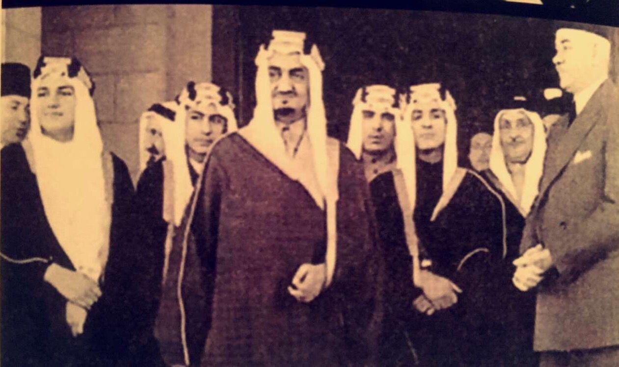 King Faisal In The Center And On The Left Is Prince Talal Bin Abdulaziz And On The Left Is Prince Nawaf Bin Abdulaziz الملك فيصل King Faisal Beauty Poster