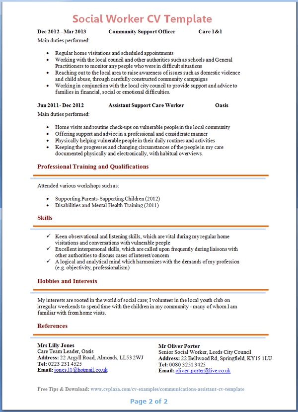 Cv Template Social Work 2 Cv Template Job Resume Samples