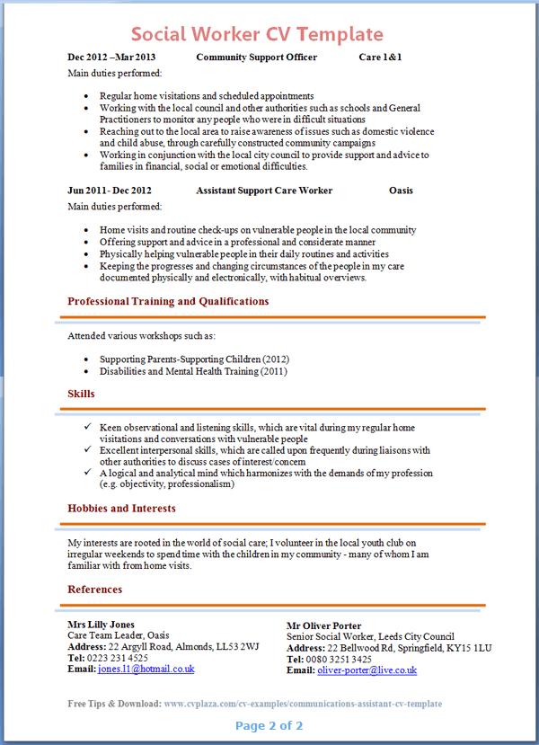 Cv Template Social Work Cvtemplate Social Template Teacher Resume Examples Teacher Resume Teaching Resume