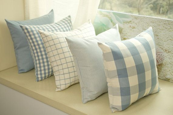 French Country Check Stripe Blue Decorative by craftfabric030