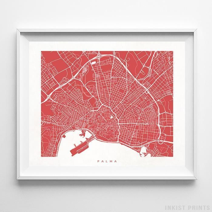 Map Of Spain Portugal%0A Palma Spain Street Map Wall Art Poster     Color Options  Prices from