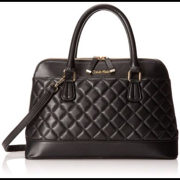 NEW Calvin Klein Sutton Quilted leather Satchel Butter-soft leather shapes  this sleek quilted satchel 3777f7e35eccd