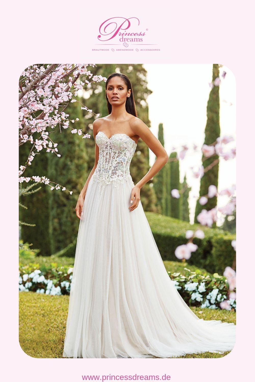 Brautkleid farbig mit trägerloser Corsage und Herzausschnitt von
