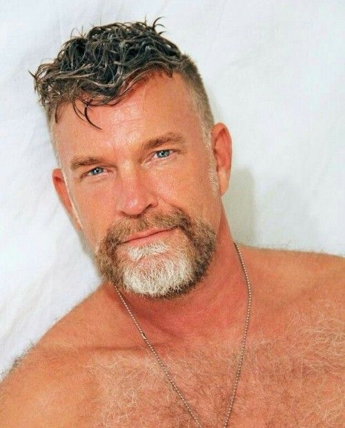 hairy chest - sexy muscle - mature men | tattoo's, beards, grey hair