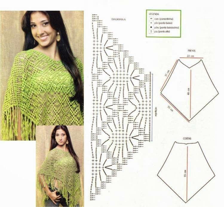 Patrones y moldes de poncho tejido con ganchillo | Crochet shawl ...