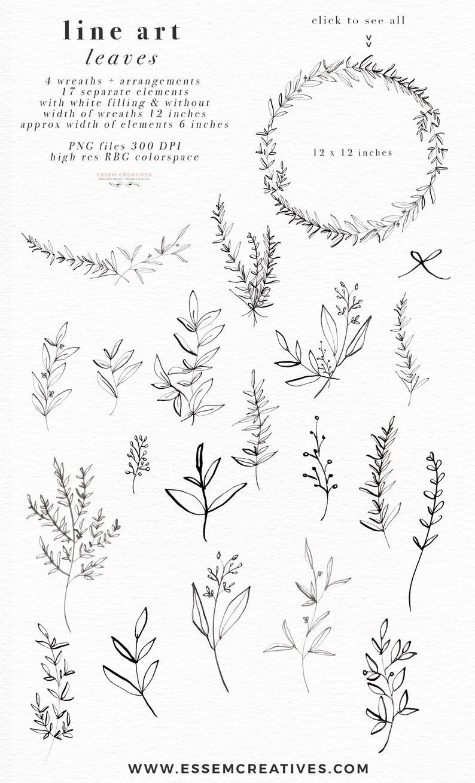 Line Art Leaves Clipart Illustration Botanical Greenery Etsy Leaves Illustration Botanical Line Drawing Leaf Clipart