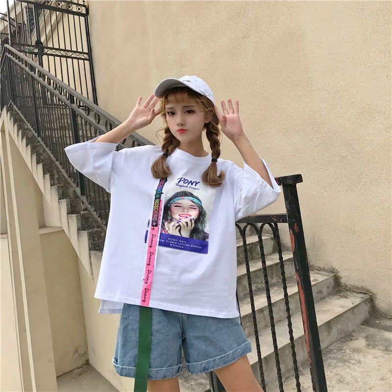 8597675ab23db 韓国ファッションレディースulzzangプリントがオシャレな短袖Tシャツゆったり