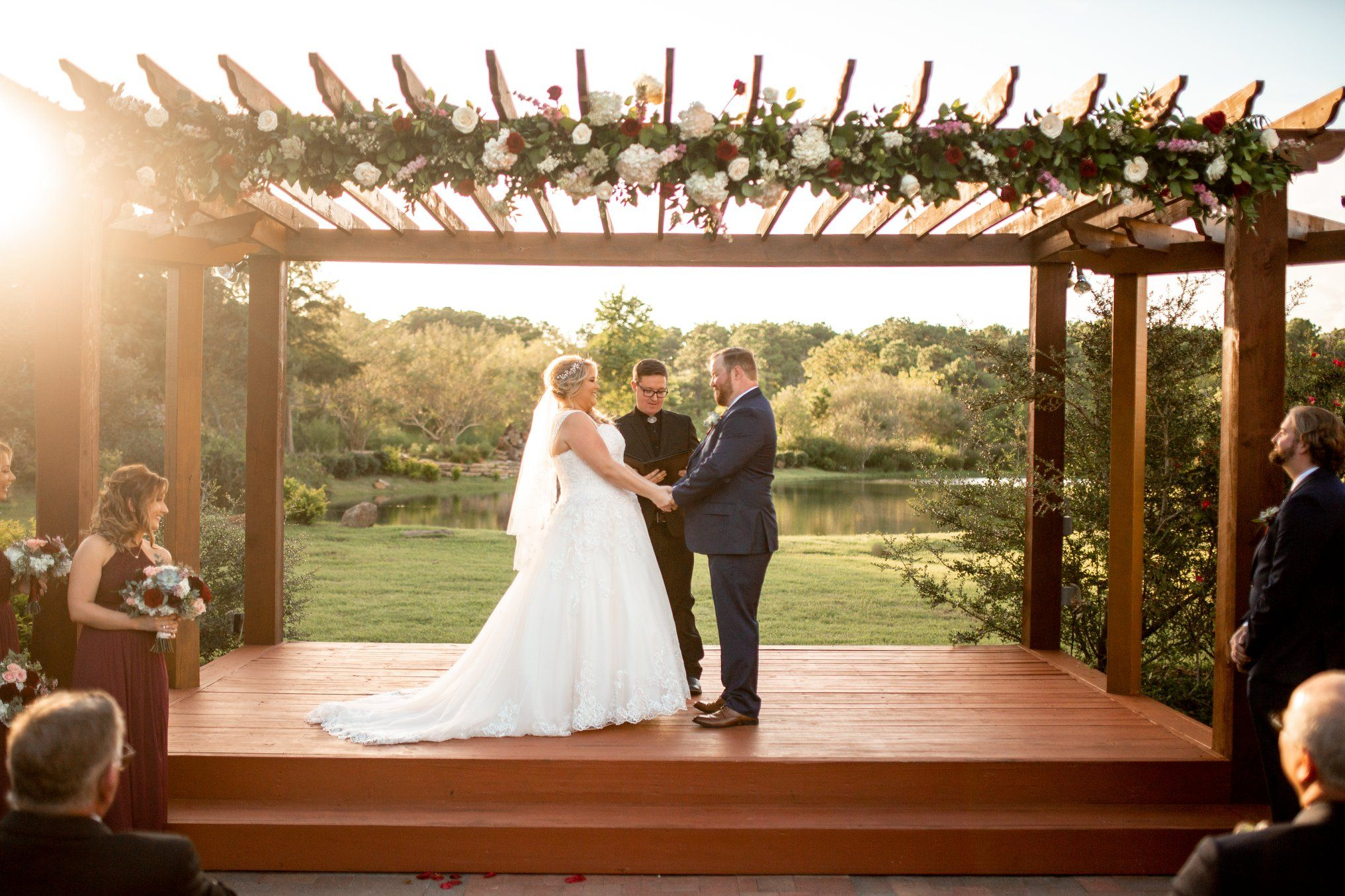 An Outdoor Sunset Wedding Is Always So Beautiful At Tuscan Courtyard Houston Venue Clear Lake League City