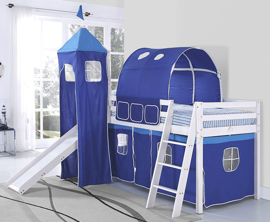 Kids Cabin Bunk Bed Mid Sleeper With Slide And Ladder Diy Bunk Bed With  Slide