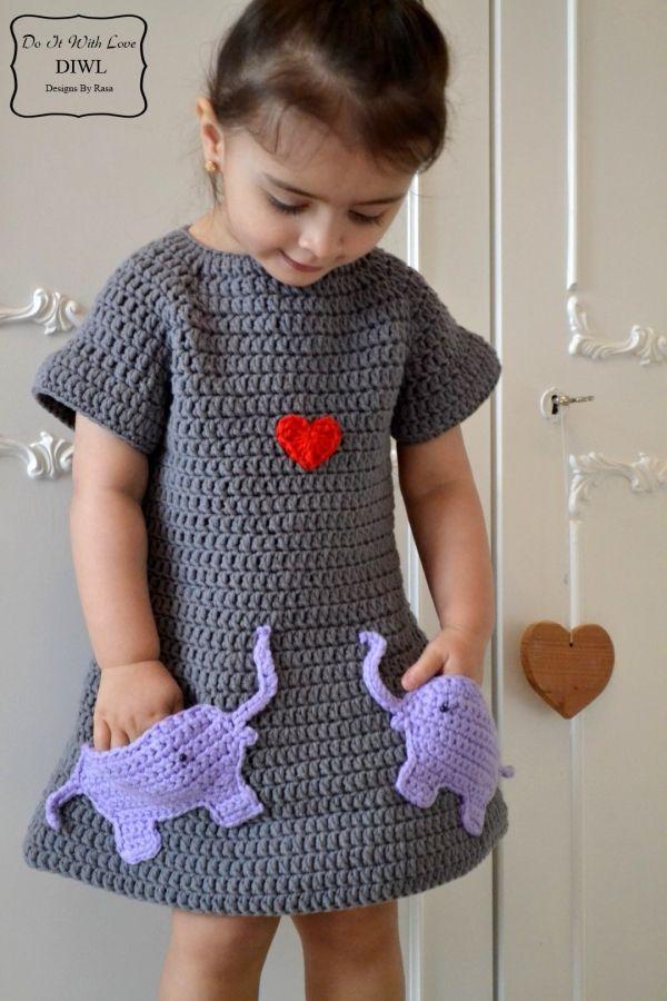 E-Book Häkelanleitung Mädchen Kleid Verliebte Elefanten | Häkeln ...