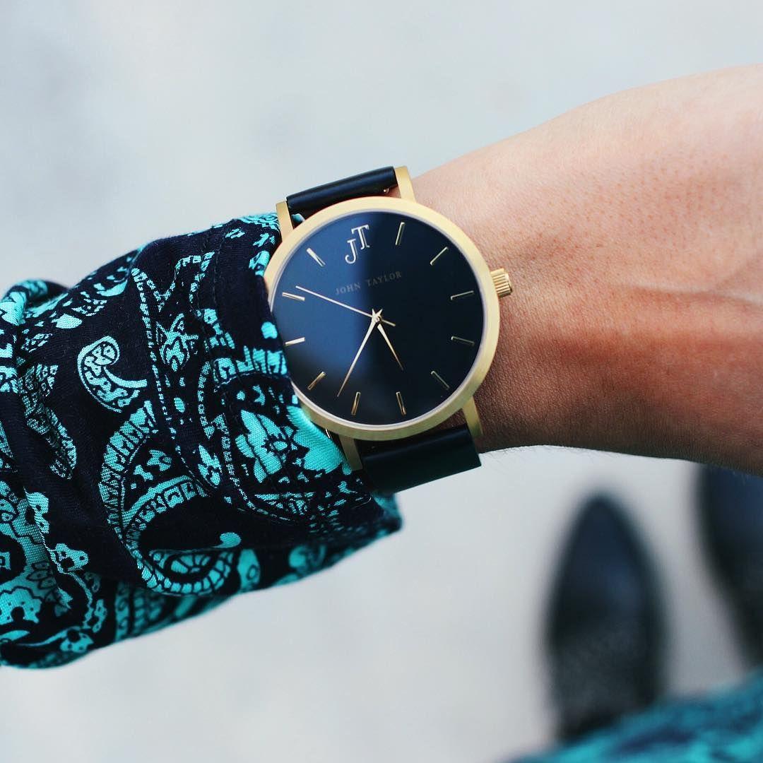 The Bondi. Black and Gold watch style. John Taylor Watches. Women's watch style. Men's watch style. Australian minimal watch brand. Swiss movement high quality.