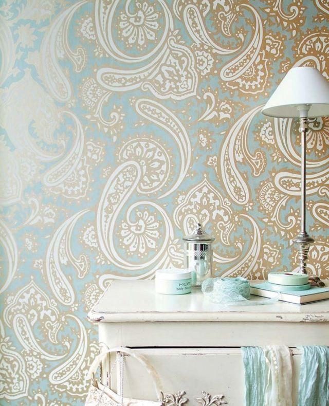 schlafzimmer tapete grau blau muster shabby kommode sampati ...