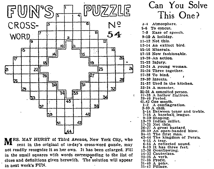 Early Crossword Puzzle Published In The Plain Dealer Newspaper Cleveland Ohio