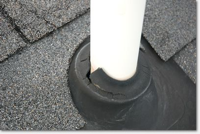 After 8 Years This Rubber Gasket Has Completely Failed Leaking Roof Roof Damage Roof Leak Repair