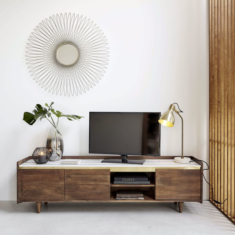 Meuble Tv 3 Portes En Acacia Massif Et Marbre Blanc Meuble Mobilier De Salon Meuble Tv