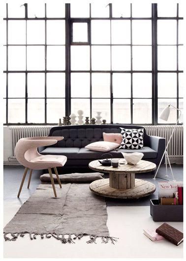 dco maison par pices - Salon Noir Gris Rose