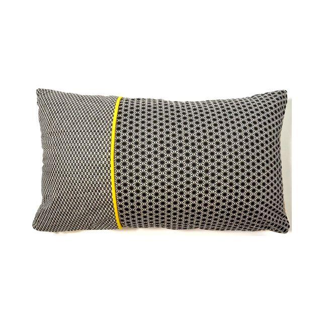 coussin omsk noir et beige liser jaune 30 x 50 cm castorama couture cr ation. Black Bedroom Furniture Sets. Home Design Ideas