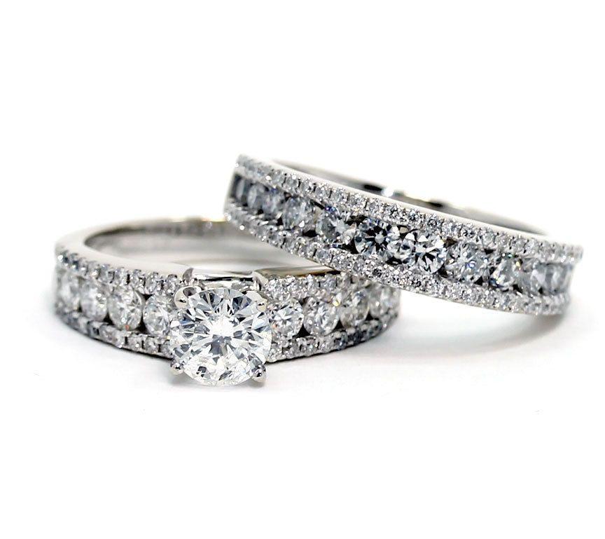 Details about fg diamond engagement ring wedding band set