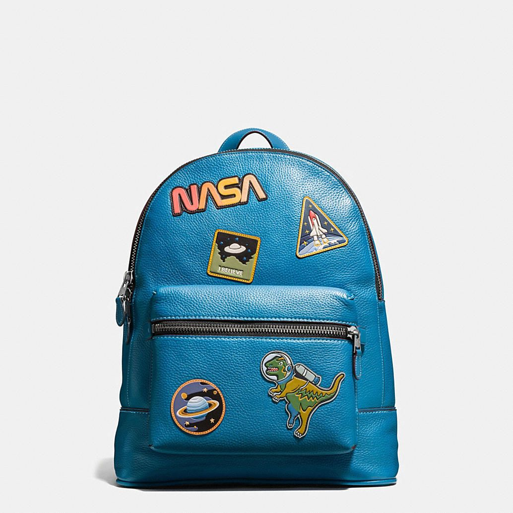 Navy Blue Backpack With Brand Patches