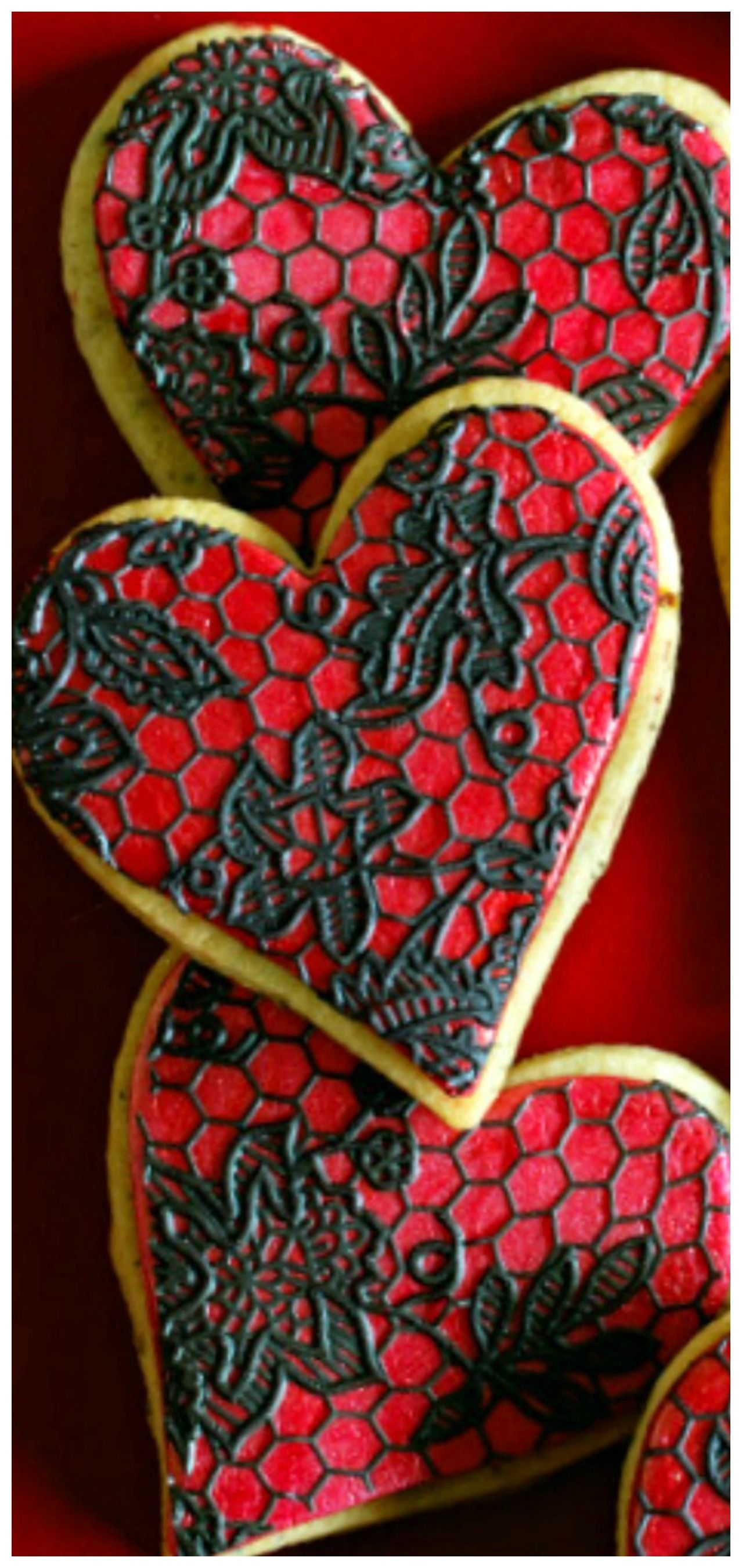 Valentine's Lace Cookies #flavoredmarshmallows Valentine's Lace Sugar Cookies ~  These show-stopping lace sugar cookies start with a lime and pistachio flavored base,then topped with marshmallow fondant. #flavoredmarshmallows