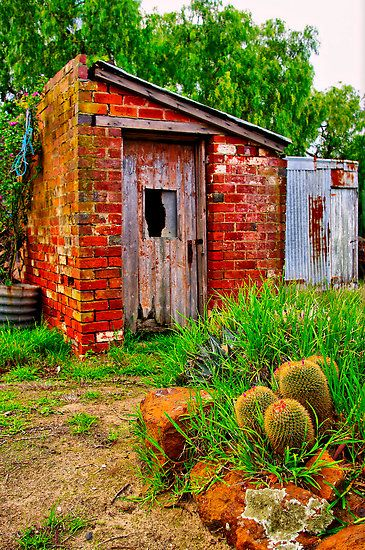 Rustic Backyard Brick Shed Brick Shed Rustic Backyard Outside Sheds