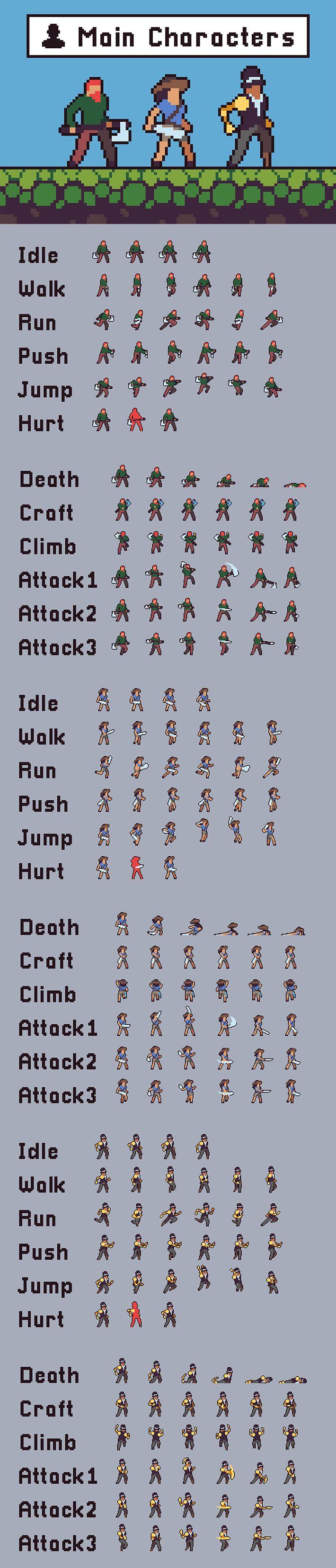 Free 3 Character Sprite Sheets Pixel Art em 2020 Design