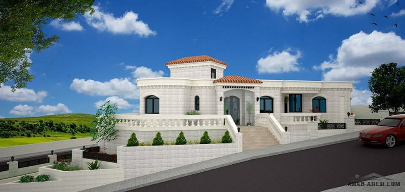 فيلا طابق واحد زاوية من اعمال مكتب المهندس يوسف عودة للاستشارات الهندسية House Design House Styles Mansions