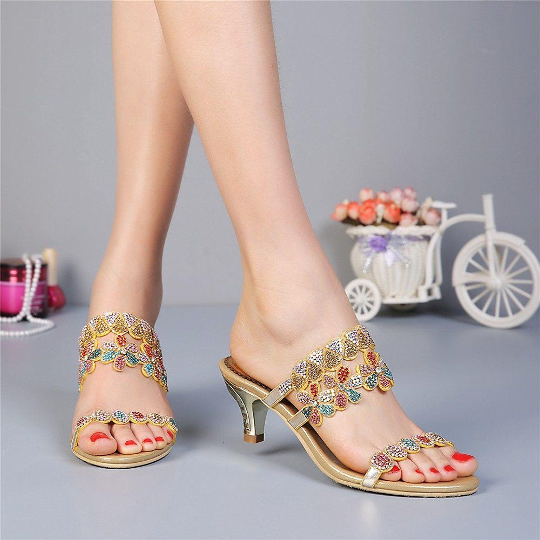 4e4b1bc43d5 Amazon.com | Unicoratha Women's Colorful Crystal Mid Heel Evening Party  Dress Sandals Rhinestone Bridal Shoes | Heeled Sandals