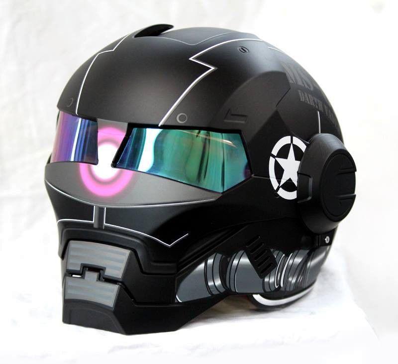 Moto Flip up Casque Iron Man Transformers Full Face Casque D T certifi/é personnalit/é Harley Casque O