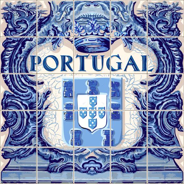 Portugal Ceramic Tile Azulejo Vector Fridge