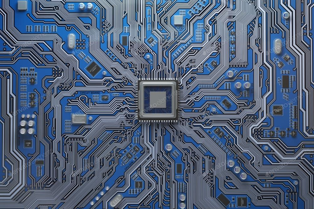 Computer Motherboard With Cpu Circuit Board System Chip With Co Photo By Maxxyustas On Envato Elements In 2020 Technology Wallpaper Circuit Board Design Technology Background