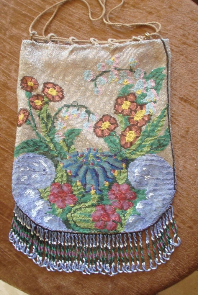 stunning floral SCENE beaded Purse, original drawstring, unusual design